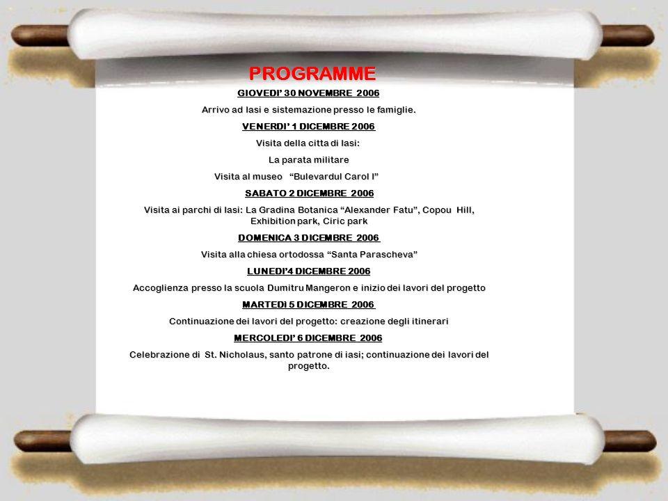 NOVEMBRE/ DICEMBRE SCAMBIO GRUPPO CLASSE PRESSO DUMITRU MANGERON DUMITRU MANGERON IASI – ROMANIA 30 th Novembre - 13 th Dicembre2006 ( 14 giorni) Phot