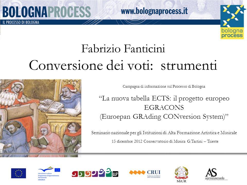 Campagna di informazione sul Processo di BolognaLa nuova tabella ECTS: il progetto europeo EGRACONS (Euroepan GRAding CONversion System) Seminario naz