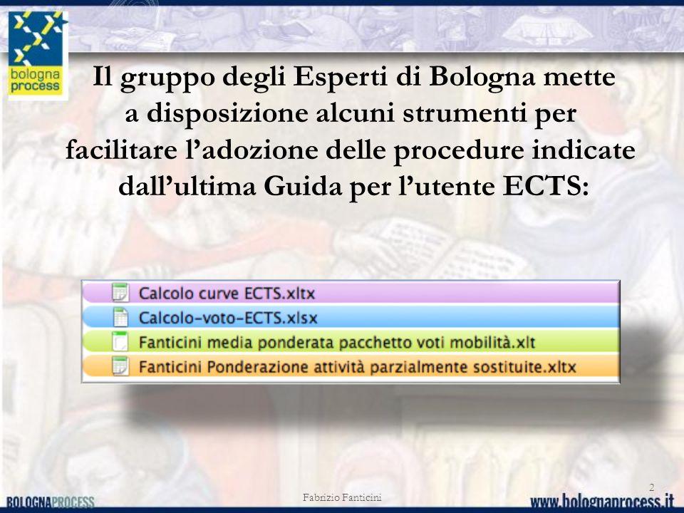 Fabrizio Fanticini 2 Il gruppo degli Esperti di Bologna mette a disposizione alcuni strumenti per facilitare ladozione delle procedure indicate dallul