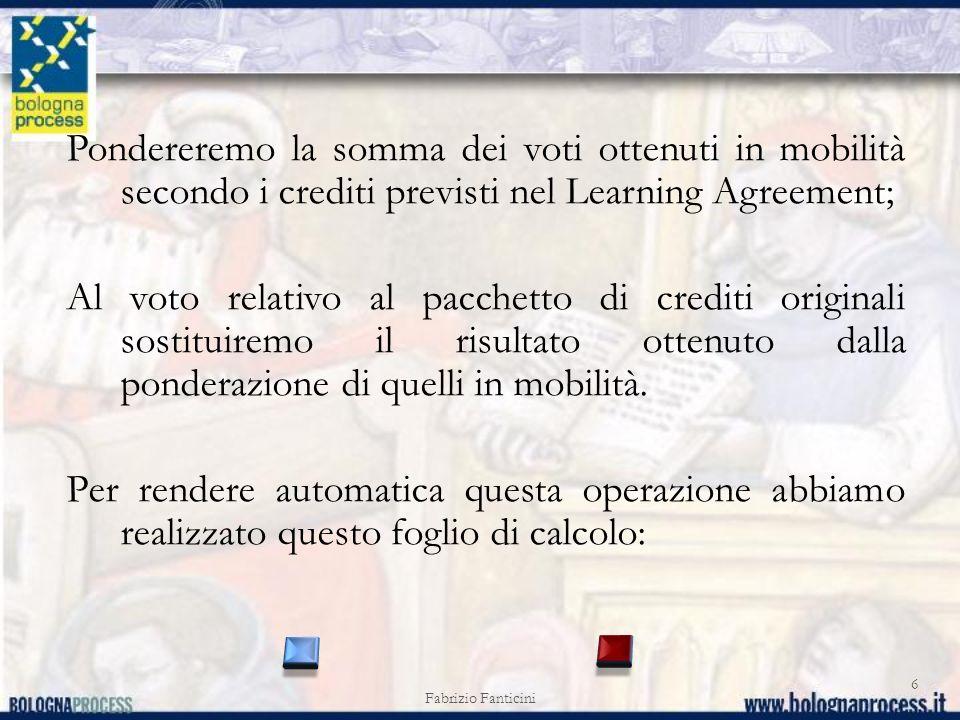 Fabrizio Fanticini 6 Pondereremo la somma dei voti ottenuti in mobilità secondo i crediti previsti nel Learning Agreement; Al voto relativo al pacchet