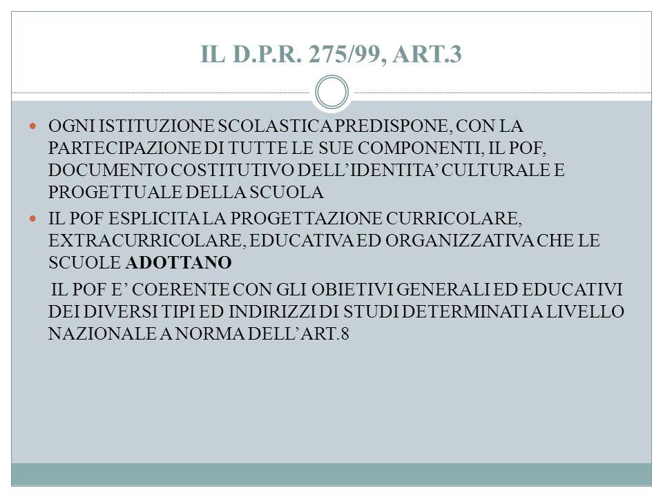 IL D.P.R 275/99, ART.1 AUTONOMIA FUNZIONALE, IN FUNZIONE DELLA MISSION LORO AFFIDATA, NEL RISPETTO DELLE FUNZIONI DELEGATE ALLE REGIONI E AGLI ENTI LO