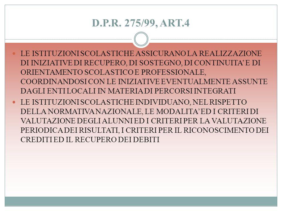 D.P.R. 275/99, ART.4 LE ISTITUZIONI SCOLASTICHE ADOTTANO FORME DI FLESSIBILITA DIDATTICA AL FINE DI INDIVIDUARE PERCORSI FORMATIVI, CHE CONCRETIZZANO