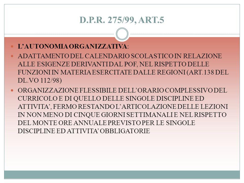 D.P.R. 275/99, ART.4 LE ISTITUZIONI SCOLASTICHE ASSICURANO LA REALIZZAZIONE DI INIZIATIVE DI RECUPERO, DI SOSTEGNO, DI CONTINUITA E DI ORIENTAMENTO SC