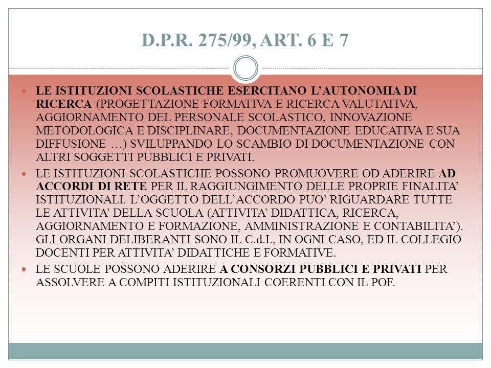 D.P.R. 275/99, ART.5 LAUTONOMIA ORGANIZZATIVA: ADATTAMENTO DEL CALENDARIO SCOLASTICO IN RELAZIONE ALLE ESIGENZE DERIVANTI DAL POF, NEL RISPETTO DELLE