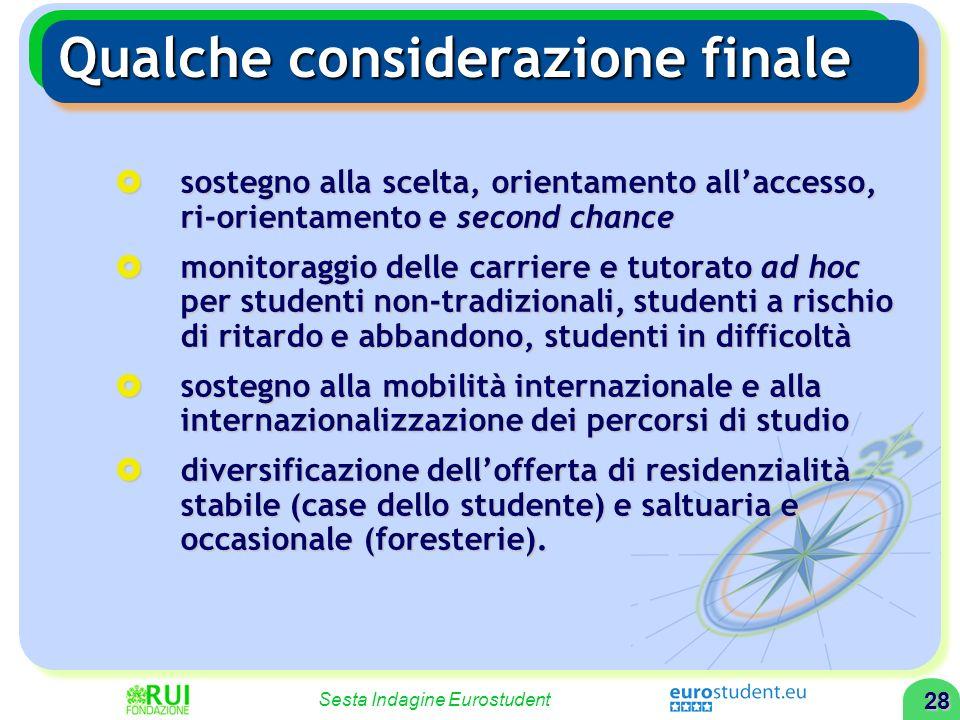 27 Sesta Indagine Eurostudent Qualche considerazione finale I nuovi studenti manifestano nuovi bisogni ed esprimono nuove domande, ad esempio: I nuovi