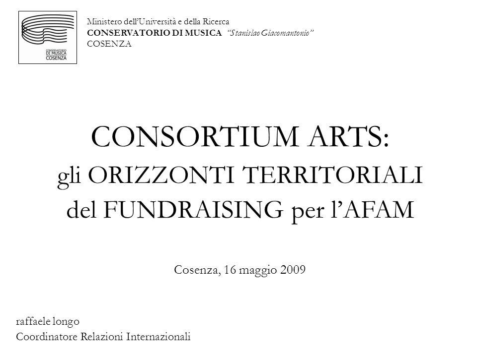 Ministero dellUniversità e della Ricerca CONSERVATORIO DI MUSICA Stanislao Giacomantonio COSENZA CONSORTIUM ARTS: gli ORIZZONTI TERRITORIALI del FUNDR