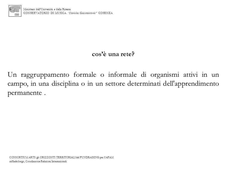 Ministero dellUniversità e della Ricerca CONSERVATORIO DI MUSICA Stanislao Giacomantonio COSENZA cosè una rete? Un raggruppamento formale o informale