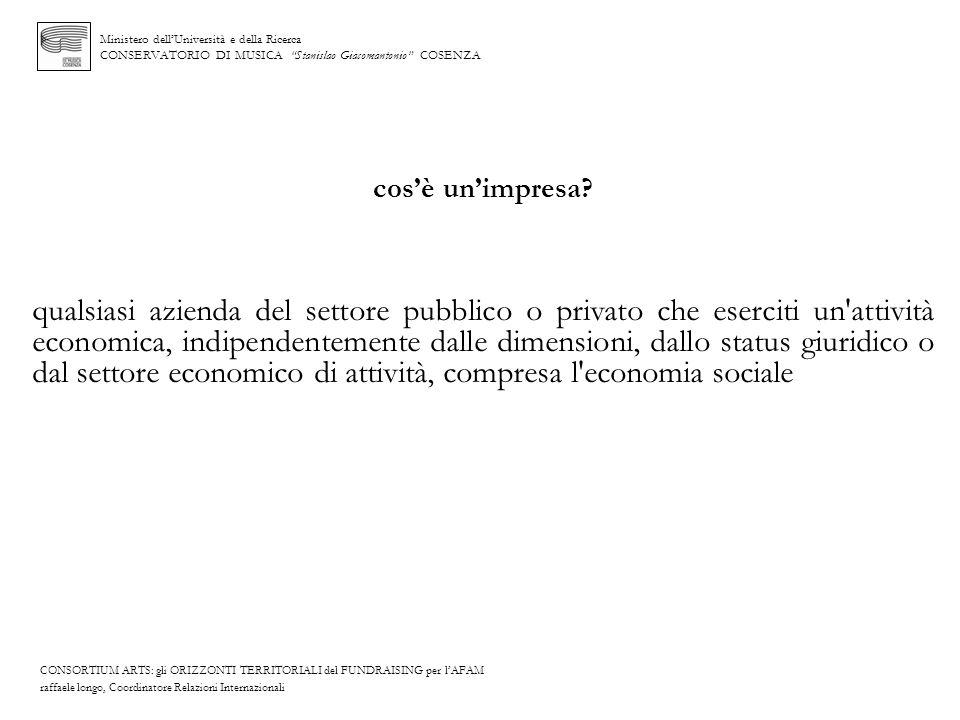 Ministero dellUniversità e della Ricerca CONSERVATORIO DI MUSICA Stanislao Giacomantonio COSENZA cosè unimpresa? qualsiasi azienda del settore pubblic
