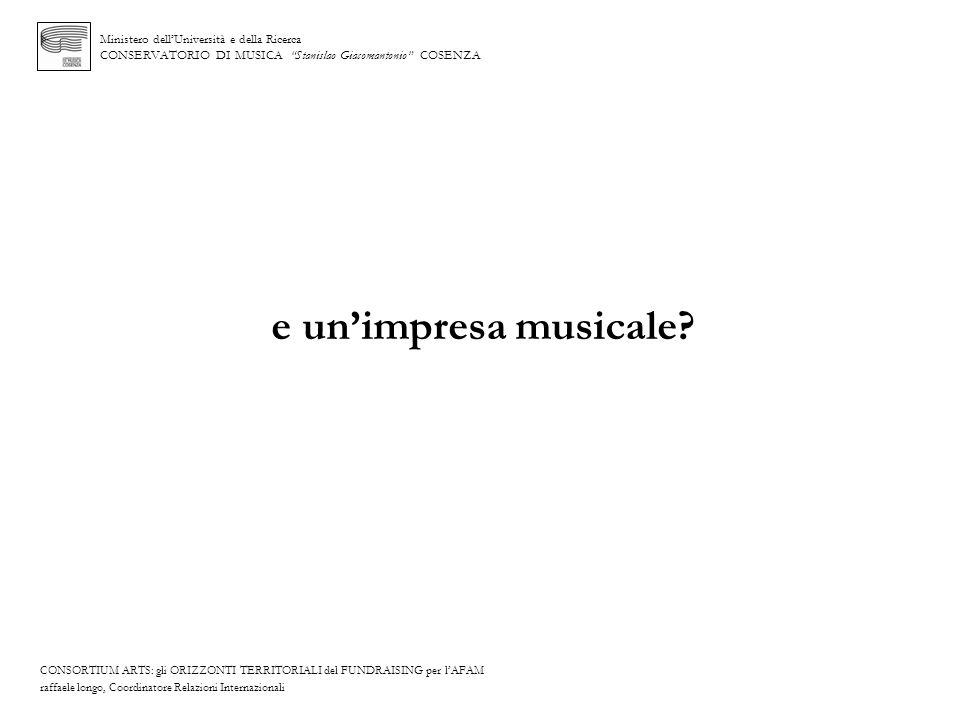 Ministero dellUniversità e della Ricerca CONSERVATORIO DI MUSICA Stanislao Giacomantonio COSENZA e unimpresa musicale? CONSORTIUM ARTS: gli ORIZZONTI