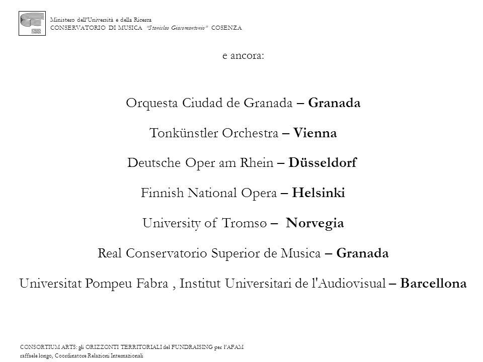 Ministero dellUniversità e della Ricerca CONSERVATORIO DI MUSICA Stanislao Giacomantonio COSENZA e ancora: Orquesta Ciudad de Granada – Granada Tonkün