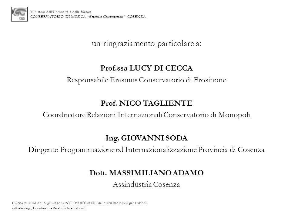 Ministero dellUniversità e della Ricerca CONSERVATORIO DI MUSICA Stanislao Giacomantonio COSENZA un ringraziamento particolare a: Prof.ssa LUCY DI CEC