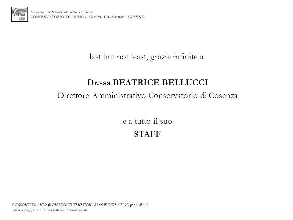 Ministero dellUniversità e della Ricerca CONSERVATORIO DI MUSICA Stanislao Giacomantonio COSENZA last but not least, grazie infinite a: Dr.ssa BEATRIC