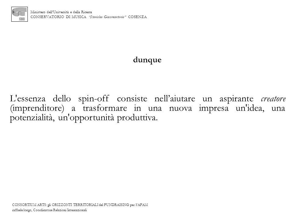 Ministero dellUniversità e della Ricerca CONSERVATORIO DI MUSICA Stanislao Giacomantonio COSENZA dunque L'essenza dello spin-off consiste nellaiutare