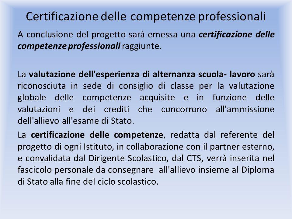 Certificazione delle competenze professionali A conclusione del progetto sarà emessa una certificazione delle competenze professionali raggiunte.