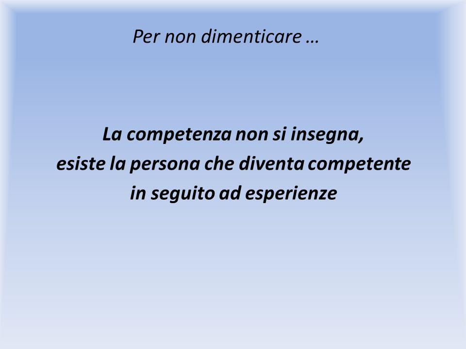 Per non dimenticare … La competenza non si insegna, esiste la persona che diventa competente in seguito ad esperienze