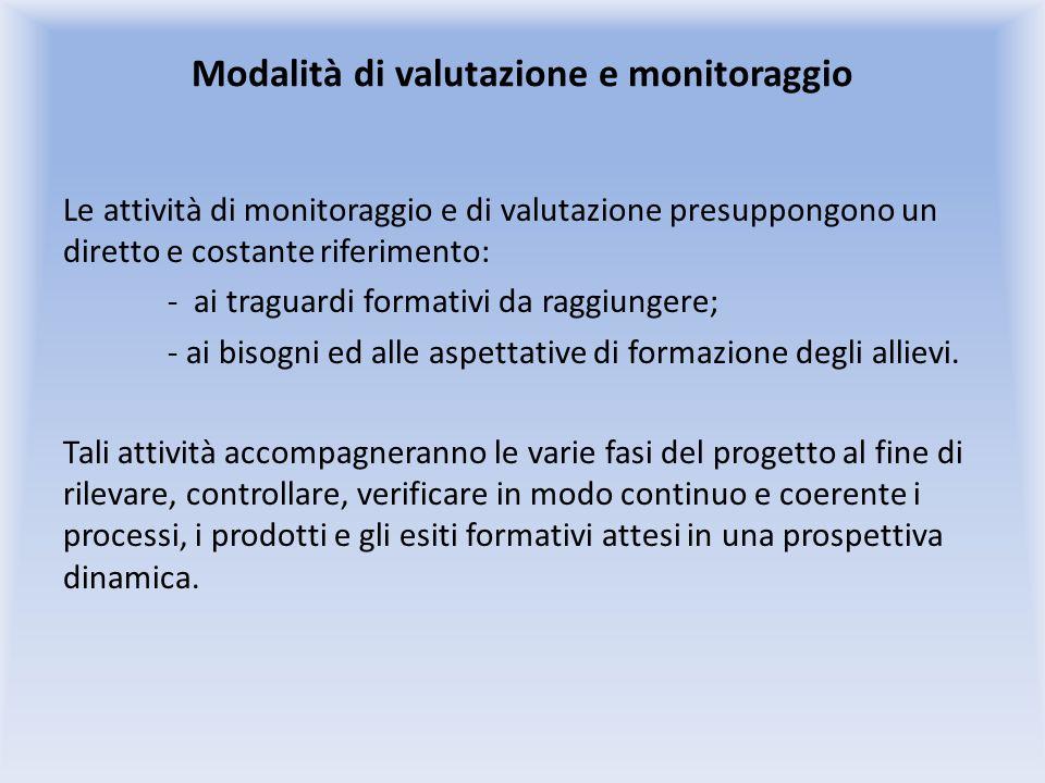 Modalità di valutazione e monitoraggio Le attività di monitoraggio e di valutazione presuppongono un diretto e costante riferimento: - ai traguardi formativi da raggiungere; - ai bisogni ed alle aspettative di formazione degli allievi.