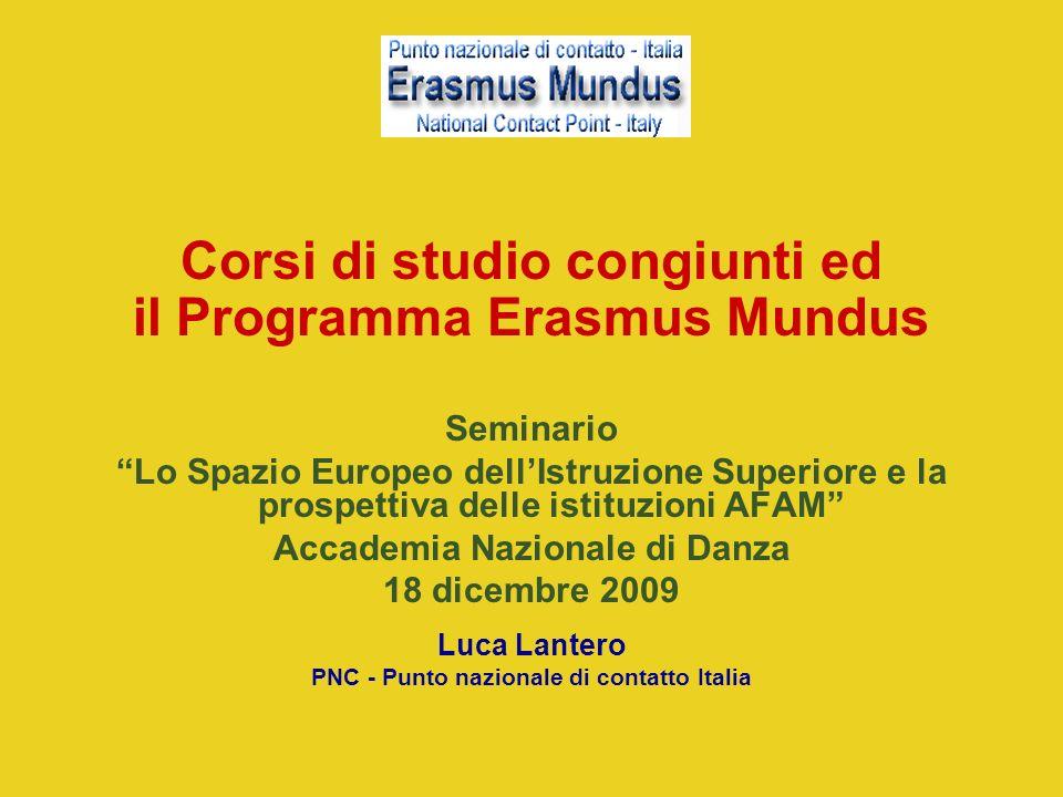 Corsi di studio congiunti ed il Programma Erasmus Mundus Seminario Lo Spazio Europeo dellIstruzione Superiore e la prospettiva delle istituzioni AFAM