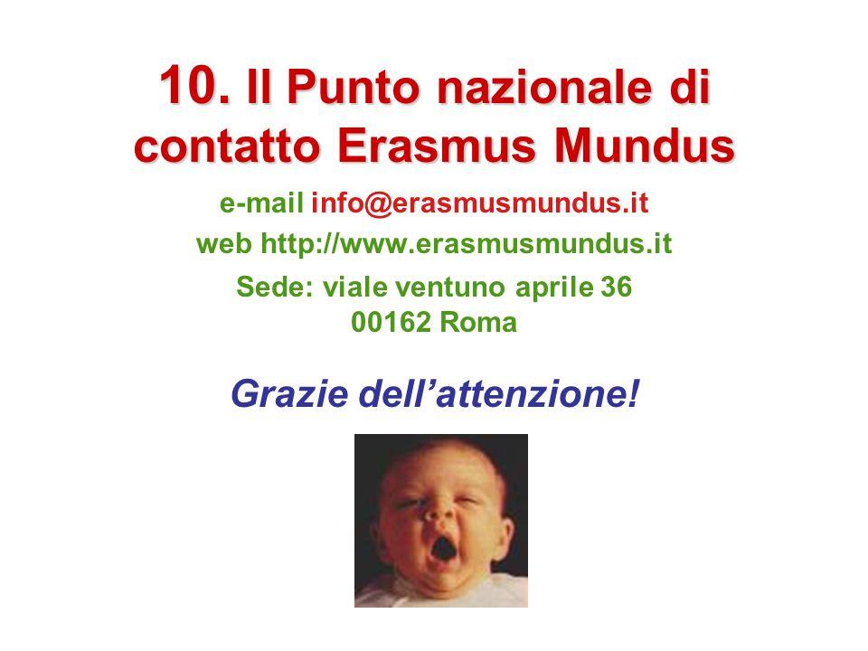 10. Il Punto nazionale di contatto Erasmus Mundus e-mail info@erasmusmundus.it web http://www.erasmusmundus.it Sede: viale ventuno aprile 36 00162 Rom