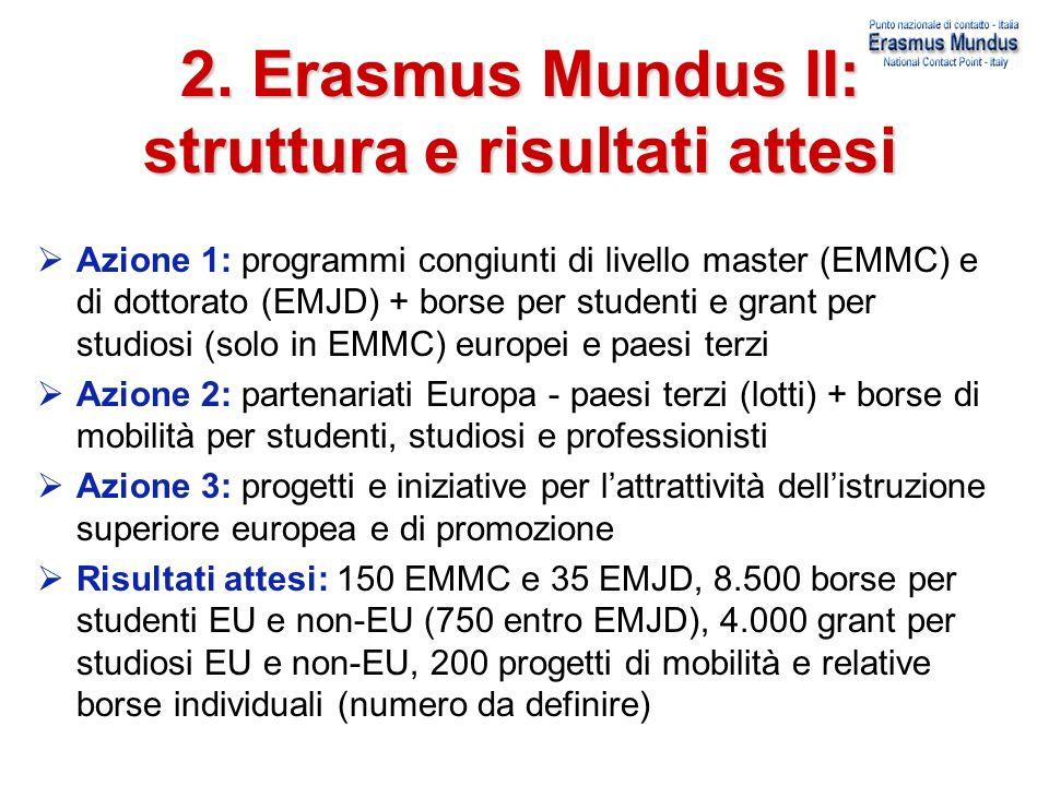 2. Erasmus Mundus II: struttura e risultati attesi Azione 1: programmi congiunti di livello master (EMMC) e di dottorato (EMJD) + borse per studenti e