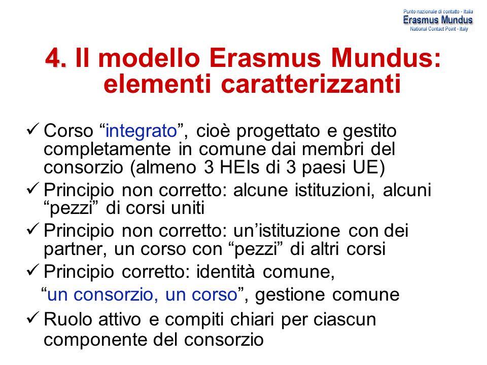 4. 4. Il modello Erasmus Mundus: elementi caratterizzanti Corso integrato, cioè progettato e gestito completamente in comune dai membri del consorzio