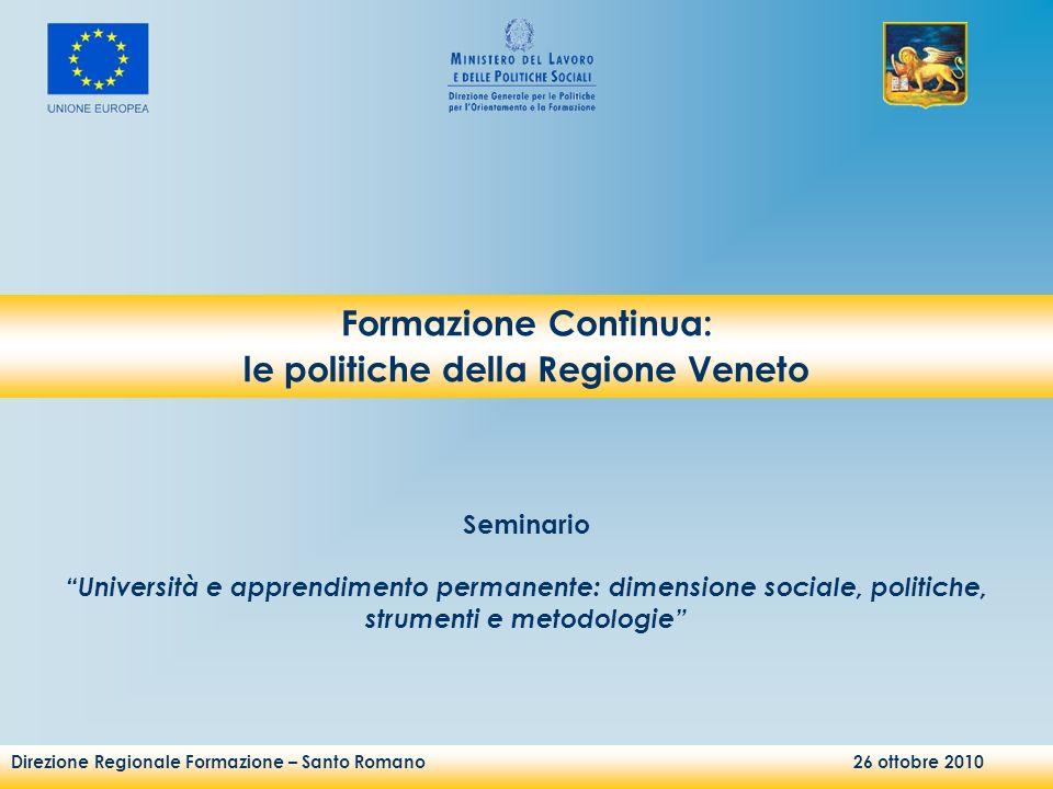 Direzione Regionale Formazione – Santo Romano 26 ottobre 2010 Seminario Università e apprendimento permanente: dimensione sociale, politiche, strument