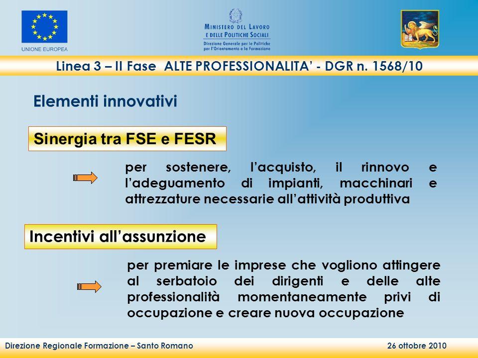 Direzione Regionale Formazione – Santo Romano 26 ottobre 2010 per sostenere, lacquisto, il rinnovo e ladeguamento di impianti, macchinari e attrezzatu