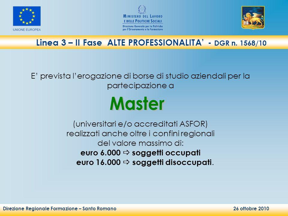 Direzione Regionale Formazione – Santo Romano 26 ottobre 2010 Linea 3 – II Fase ALTE PROFESSIONALITA - DGR n. 1568/10 E prevista lerogazione di borse