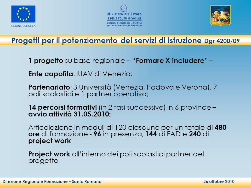 Direzione Regionale Formazione – Santo Romano 26 ottobre 2010 1 progetto su base regionale – Formare X includere – Ente capofila : IUAV di Venezia; Pa