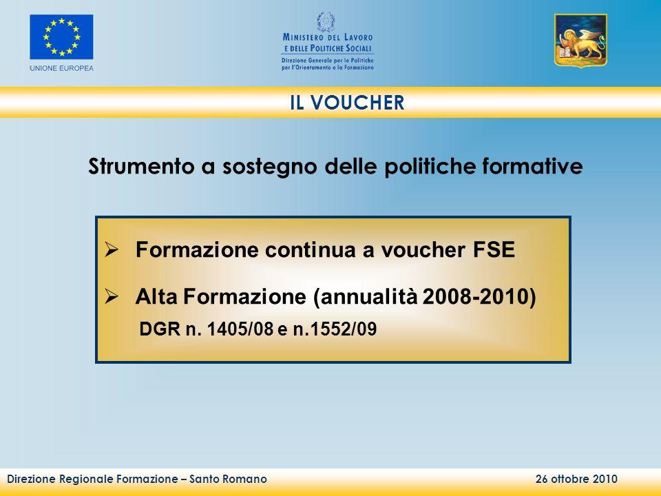 Direzione Regionale Formazione – Santo Romano 26 ottobre 2010 Formazione continua a voucher FSE Alta Formazione (annualità 2008-2010) DGR n. 1405/08 e