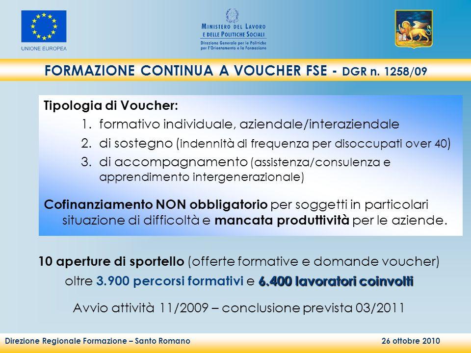 Direzione Regionale Formazione – Santo Romano 26 ottobre 2010 FORMAZIONE CONTINUA A VOUCHER FSE - DGR n. 1258/09 Tipologia di Voucher: 1.formativo ind