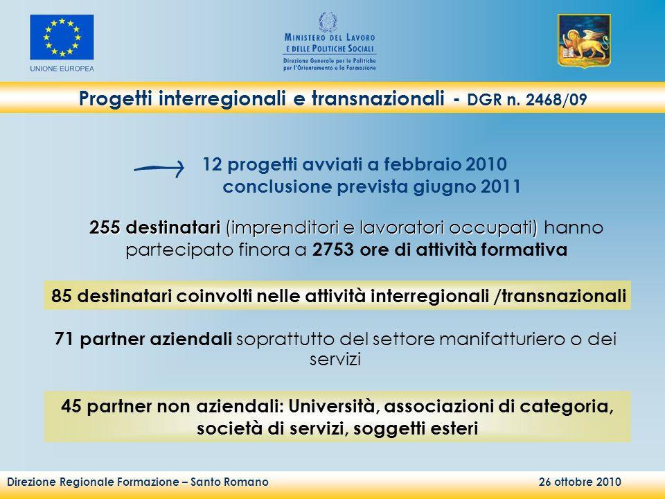 Direzione Regionale Formazione – Santo Romano 26 ottobre 2010 Progetti interregionali e transnazionali - DGR n. 2468/09 12 progetti avviati a febbraio