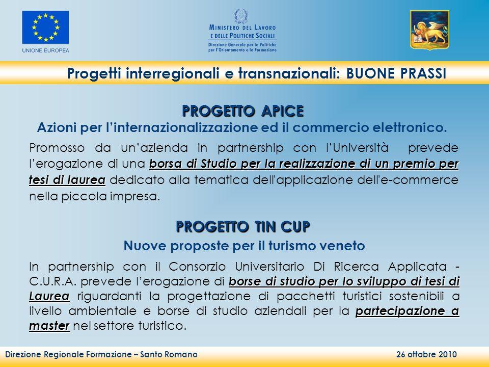 Direzione Regionale Formazione – Santo Romano 26 ottobre 2010 Progetti interregionali e transnazionali: BUONE PRASSI borsa di Studio per la realizzazi