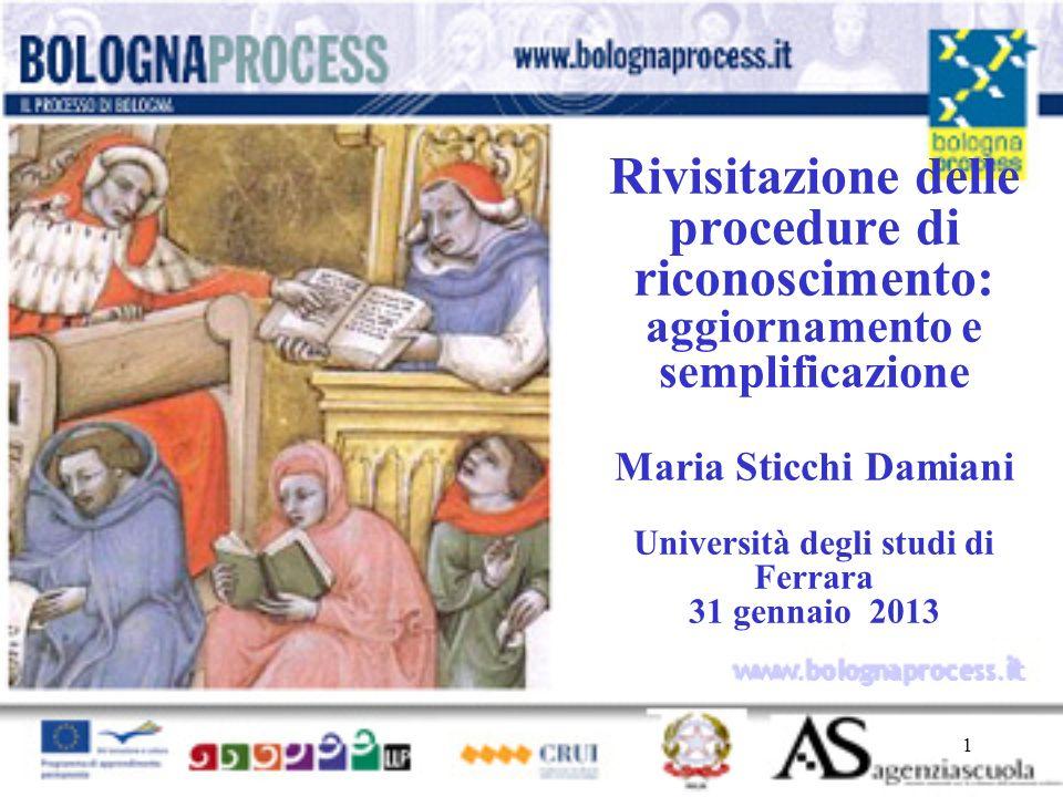 1 www.bolognaprocess.i t Rivisitazione delle procedure di riconoscimento: aggiornamento e semplificazione Maria Sticchi Damiani Università degli studi