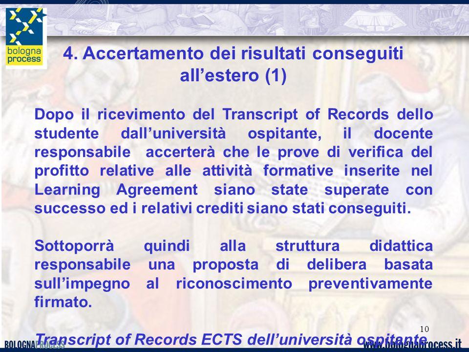 10 4. Accertamento dei risultati conseguiti allestero (1) Dopo il ricevimento del Transcript of Records dello studente dalluniversità ospitante, il do