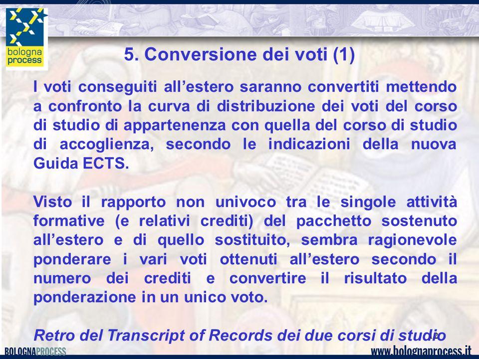 12 5. Conversione dei voti (1) I voti conseguiti allestero saranno convertiti mettendo a confronto la curva di distribuzione dei voti del corso di stu
