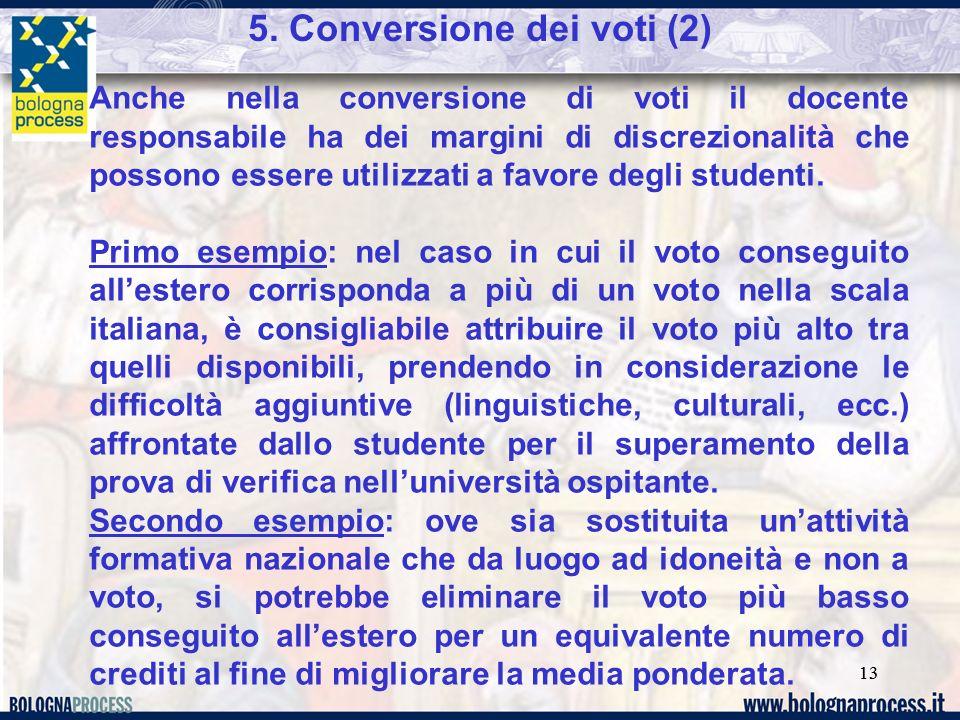 13 5. Conversione dei voti (2) Anche nella conversione di voti il docente responsabile ha dei margini di discrezionalità che possono essere utilizzati