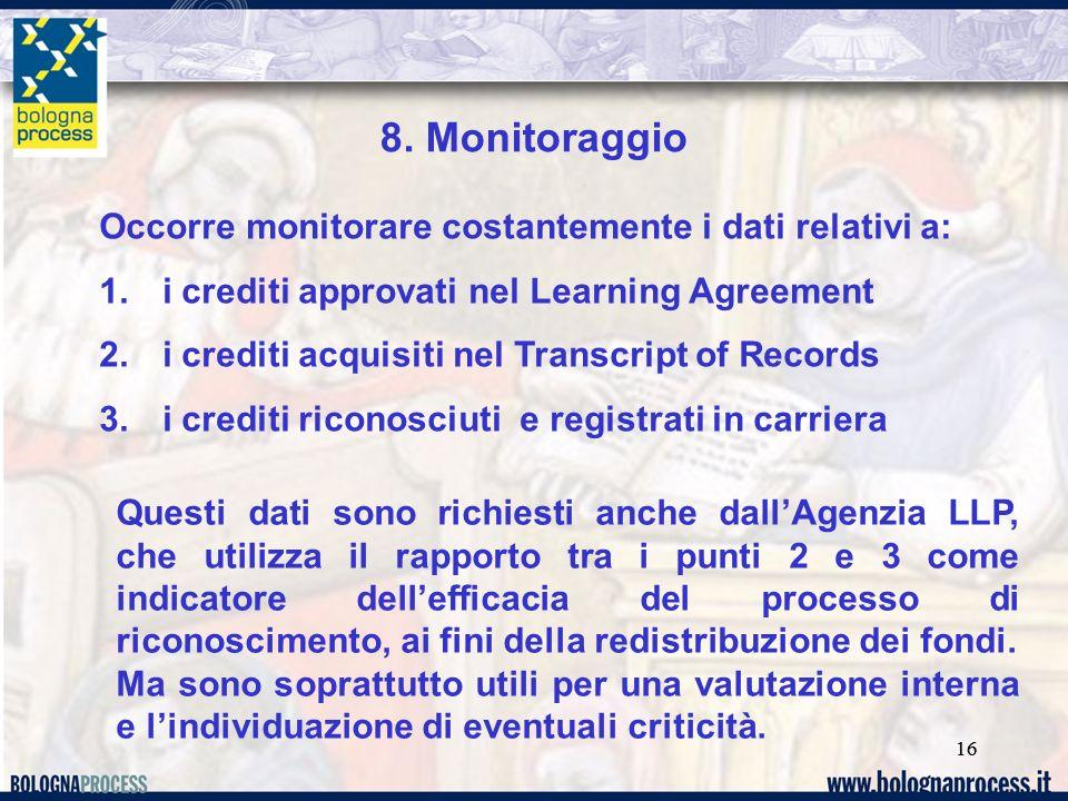 16 8. Monitoraggio Occorre monitorare costantemente i dati relativi a: 1. i crediti approvati nel Learning Agreement 2. i crediti acquisiti nel Transc