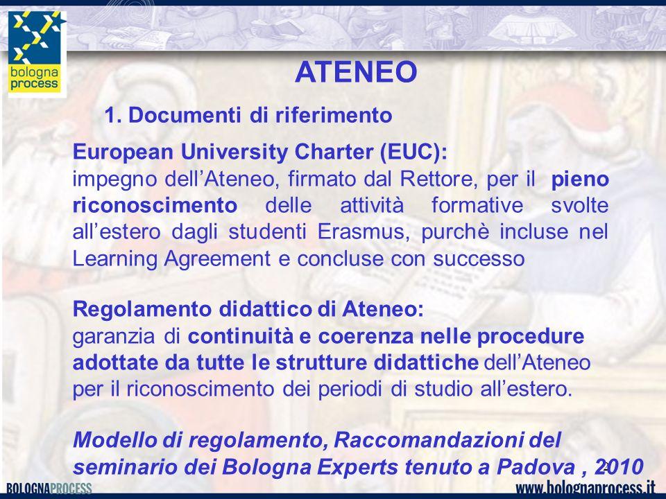 2 ATENEO Regolamento didattico di Ateneo: garanzia di continuità e coerenza nelle procedure adottate da tutte le strutture didattiche dellAteneo per i
