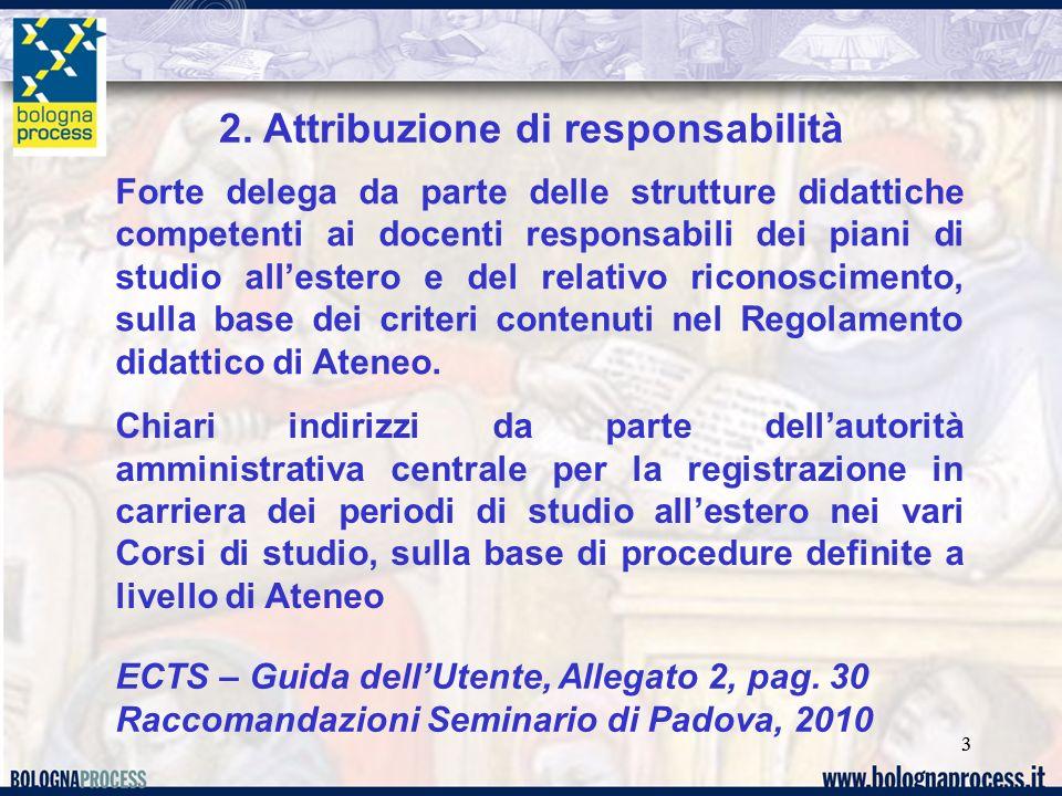 33 2. Attribuzione di responsabilità Forte delega da parte delle strutture didattiche competenti ai docenti responsabili dei piani di studio allestero