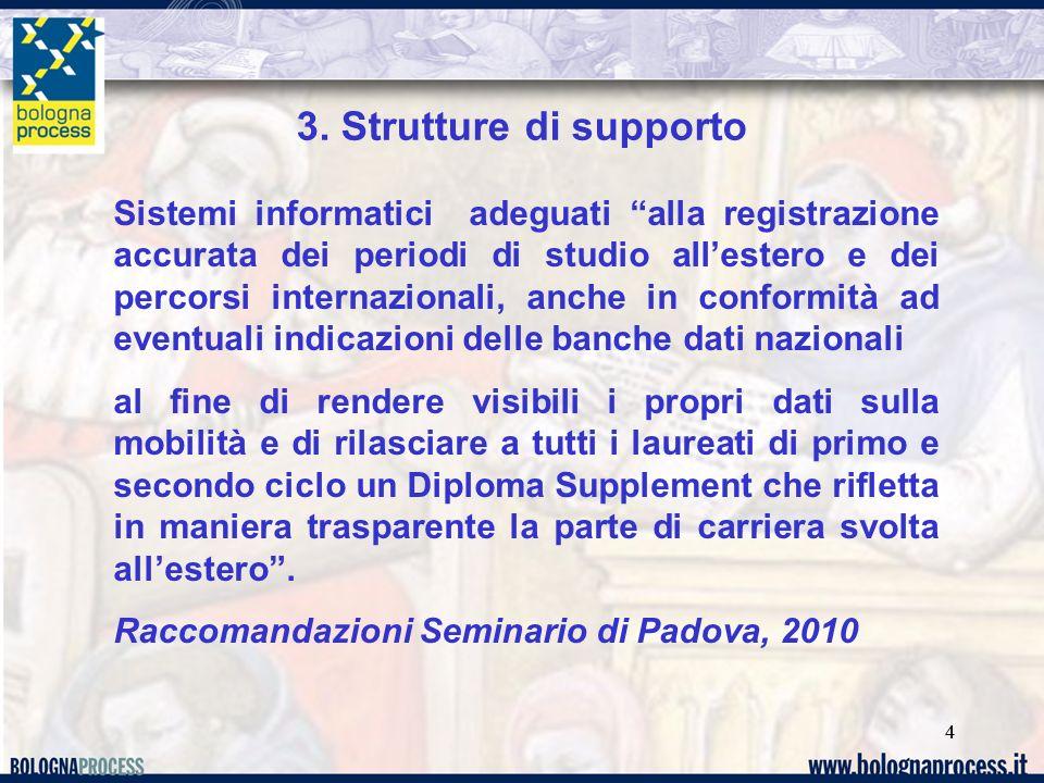 44 3. Strutture di supporto Sistemi informatici adeguati alla registrazione accurata dei periodi di studio allestero e dei percorsi internazionali, an