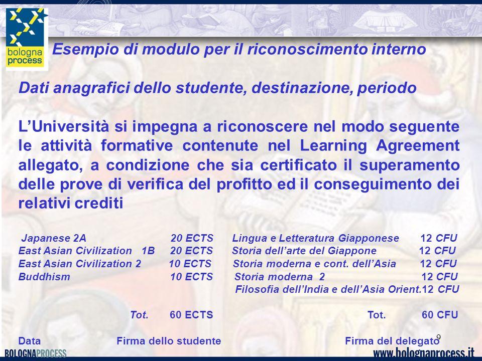 9 Esempio di modulo per il riconoscimento interno Dati anagrafici dello studente, destinazione, periodo LUniversità si impegna a riconoscere nel modo