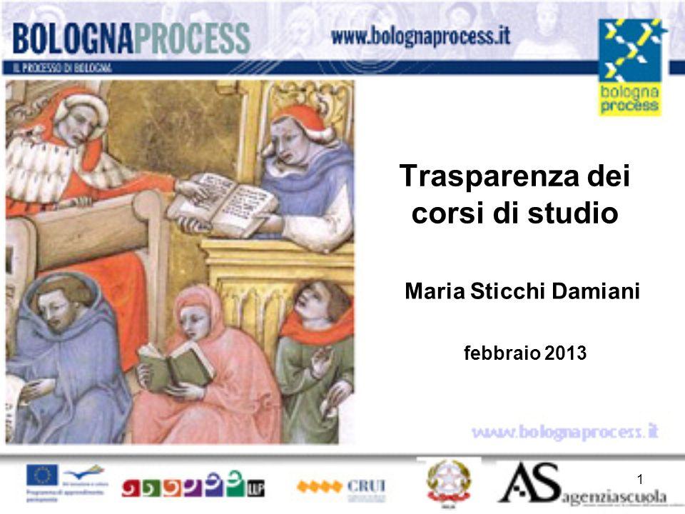 Trasparenza dei corsi di studio Maria Sticchi Damiani febbraio 2013 1