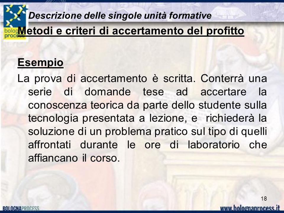 Descrizione delle singole unità formative Metodi e criteri di accertamento del profitto Esempio La prova di accertamento è scritta.