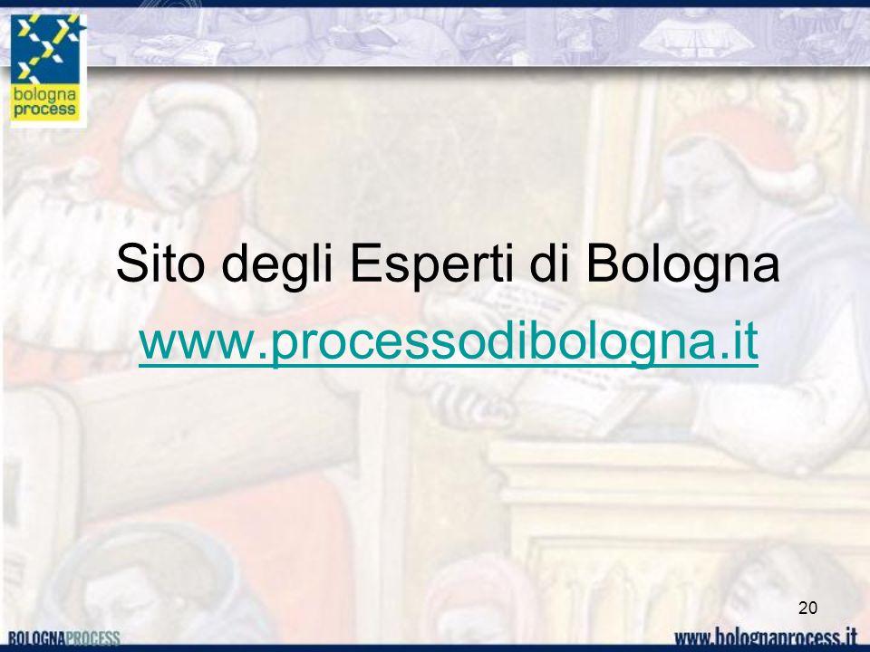 Sito degli Esperti di Bologna www.processodibologna.it 20