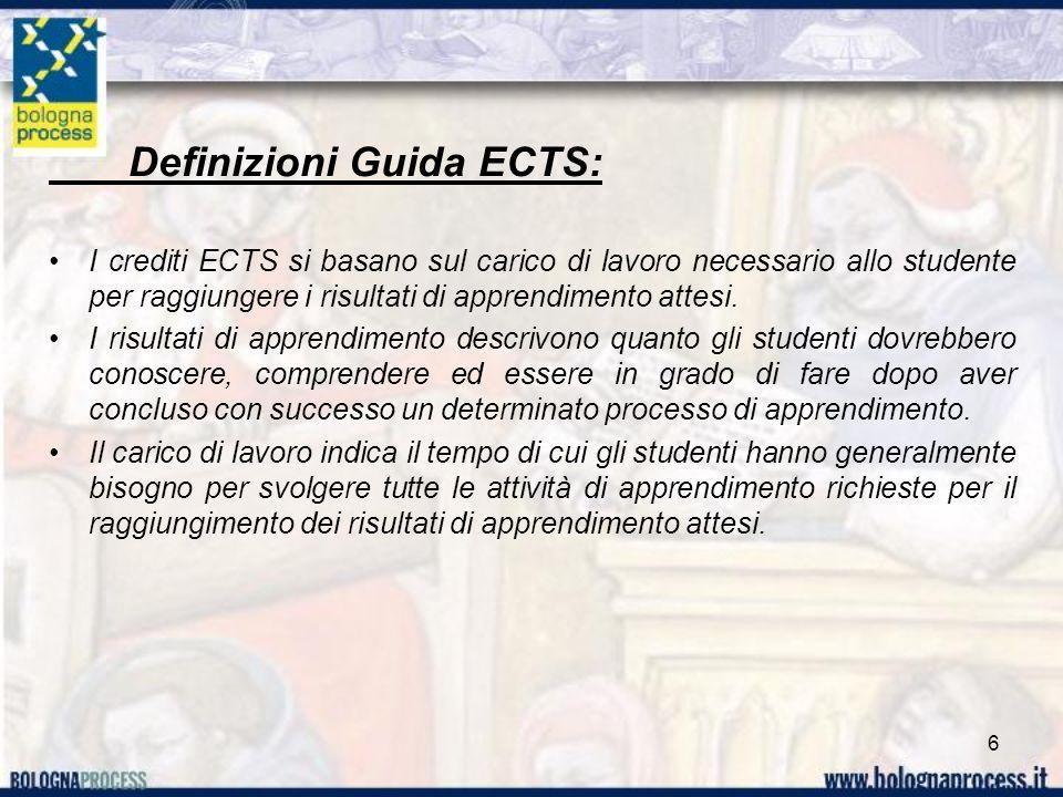 Definizioni Guida ECTS: I crediti ECTS si basano sul carico di lavoro necessario allo studente per raggiungere i risultati di apprendimento attesi.