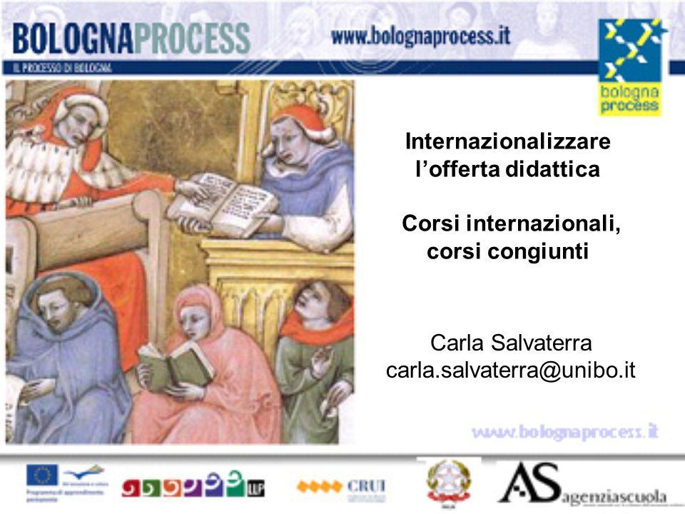 Internazionalizzare lofferta didattica Corsi internazionali, corsi congiunti Carla Salvaterra carla.salvaterra@unibo.it