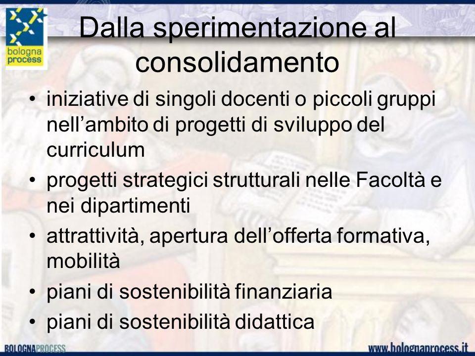 Dalla sperimentazione al consolidamento iniziative di singoli docenti o piccoli gruppi nellambito di progetti di sviluppo del curriculum progetti strategici strutturali nelle Facoltà e nei dipartimenti attrattività, apertura dellofferta formativa, mobilità piani di sostenibilità finanziaria piani di sostenibilità didattica