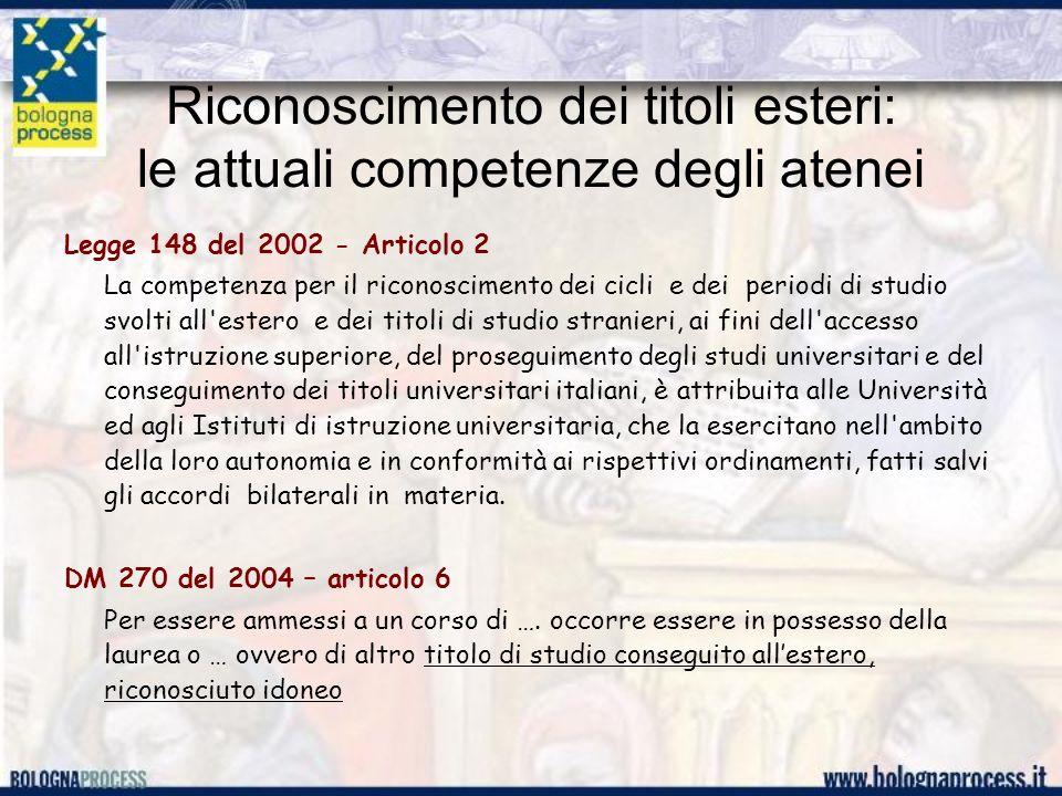Riconoscimento dei titoli esteri: le attuali competenze degli atenei Legge 148 del 2002 - Articolo 2 La competenza per il riconoscimento dei cicli e dei periodi di studio svolti all estero e dei titoli di studio stranieri, ai fini dell accesso all istruzione superiore, del proseguimento degli studi universitari e del conseguimento dei titoli universitari italiani, è attribuita alle Università ed agli Istituti di istruzione universitaria, che la esercitano nell ambito della loro autonomia e in conformità ai rispettivi ordinamenti, fatti salvi gli accordi bilaterali in materia.