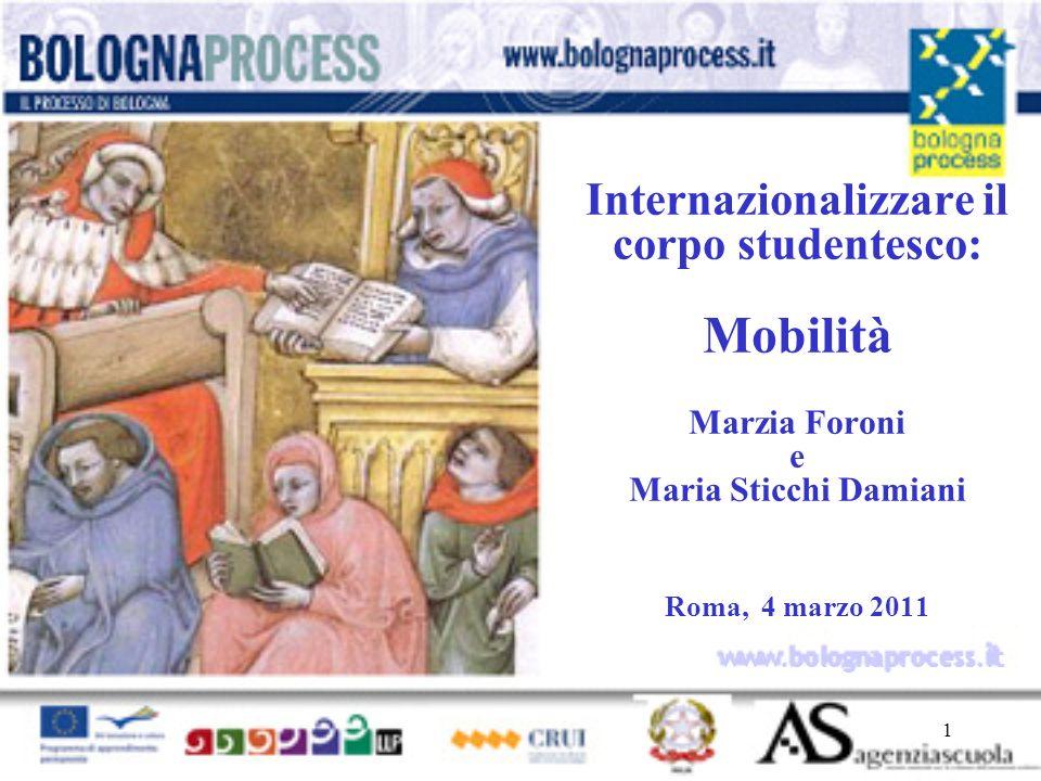 1 www.bolognaprocess.i t Internazionalizzare il corpo studentesco: Mobilità Marzia Foroni e Maria Sticchi Damiani Roma, 4 marzo 2011