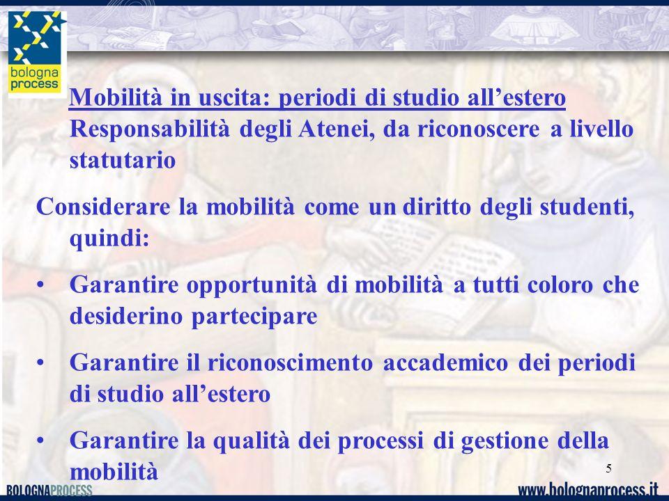 5 Mobilità in uscita: periodi di studio allestero Responsabilità degli Atenei, da riconoscere a livello statutario Considerare la mobilità come un dir